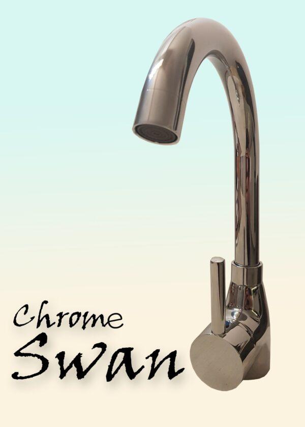Swan hrom jednoručna slavina za sudoperu sa dve cevi