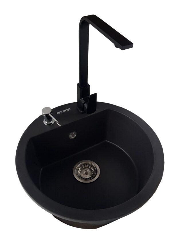 Set KM 12 karbon Gorenje granitna sudopera sa slavinom Elegance u crnoj boji