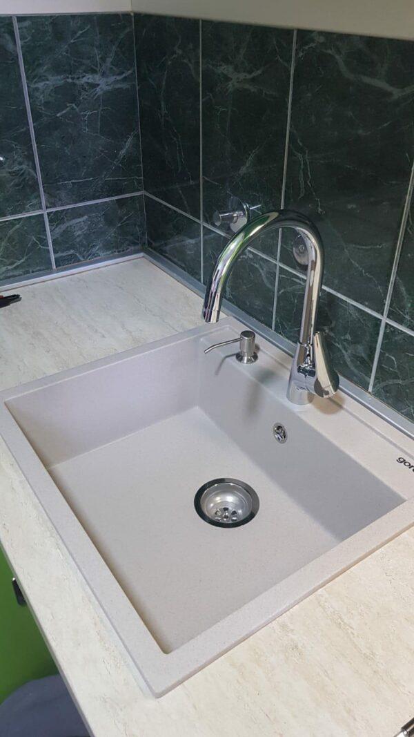 Komplet sudopera sa dozerom, sifonom i slavinom. Gorenje KM 15 bela + ugradni dozer za deterdžent + Minotti 6118 b hrom
