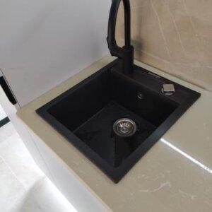 Set sudopera sa slavinom i sifonom Gorenje Simply 4 karbon boja i Swan slavina crna