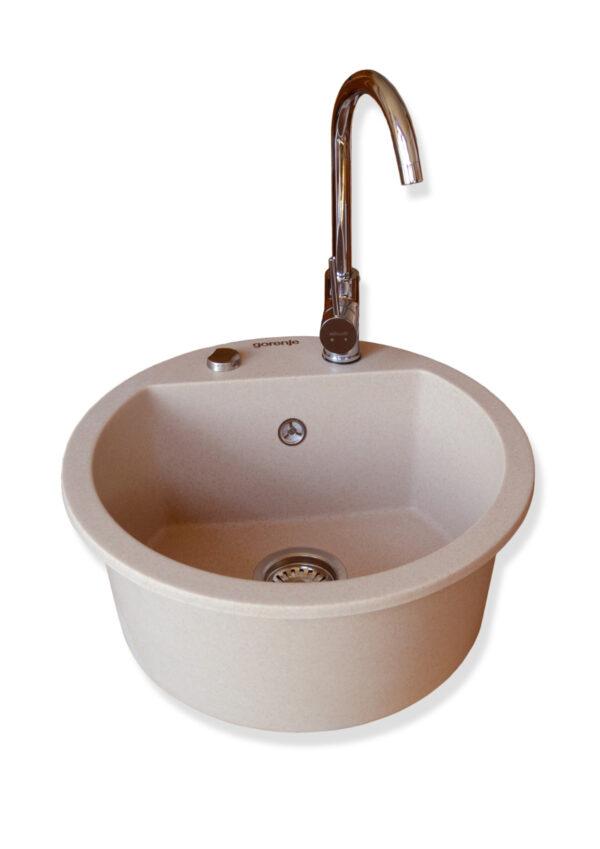 Set sudopera sa slavinom i sifonom Gorenje KM 12 bež + Minotti 6118-B hrom