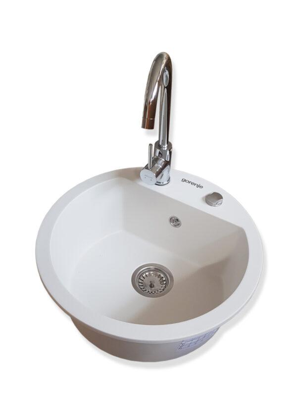 Komplet sudopera i slavina Gorenje KM 12 bela sudopera od granita Swan hrom