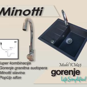 KM 45 karbon Gorenje granitna sudopera sa slavinom Minotti 6118 B hrom