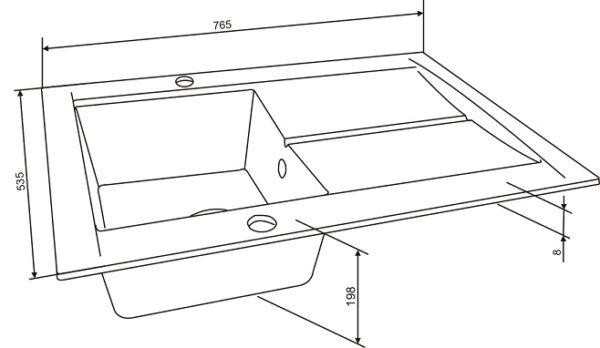 Granitna sudopera dimenzije Gorenje KVE 76 10