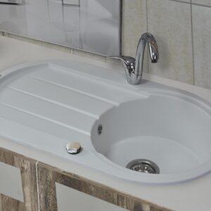 Ovalna bela granitna sudopera sa ocedjivačem Gorenje KM 4