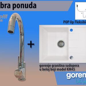 Bela sudopera Gorenje KM 45 + Minotti slavina 6118 b hrom set sudopera sa slavinom i sifonom
