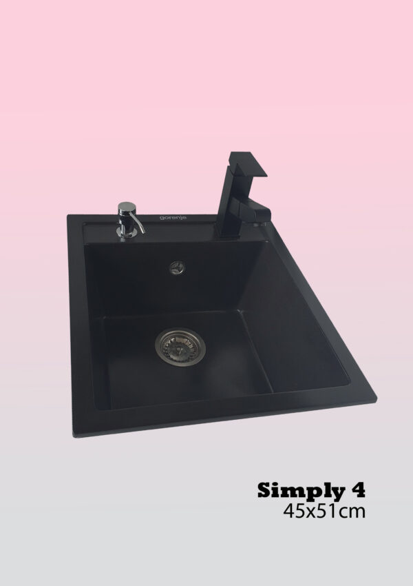 Komplet sudopera i slavina + sifon i dozer za deterdžent Gorenje Simply 4 karbon i crna slavina Quadra