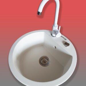 Granitna sudopera sa slavinom i sifonom Gorenje KM 12 bela + Minotti 6118 B bela
