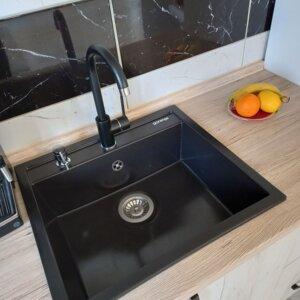 granitna sudopera km15 karbon gorenje minotti crna slavina ugradni dozer za tečnost