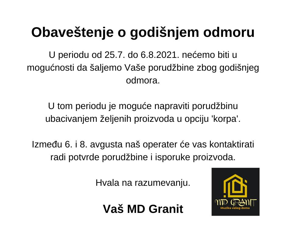 Obavestenje o letnjem godisnjem odmoru MD Granit